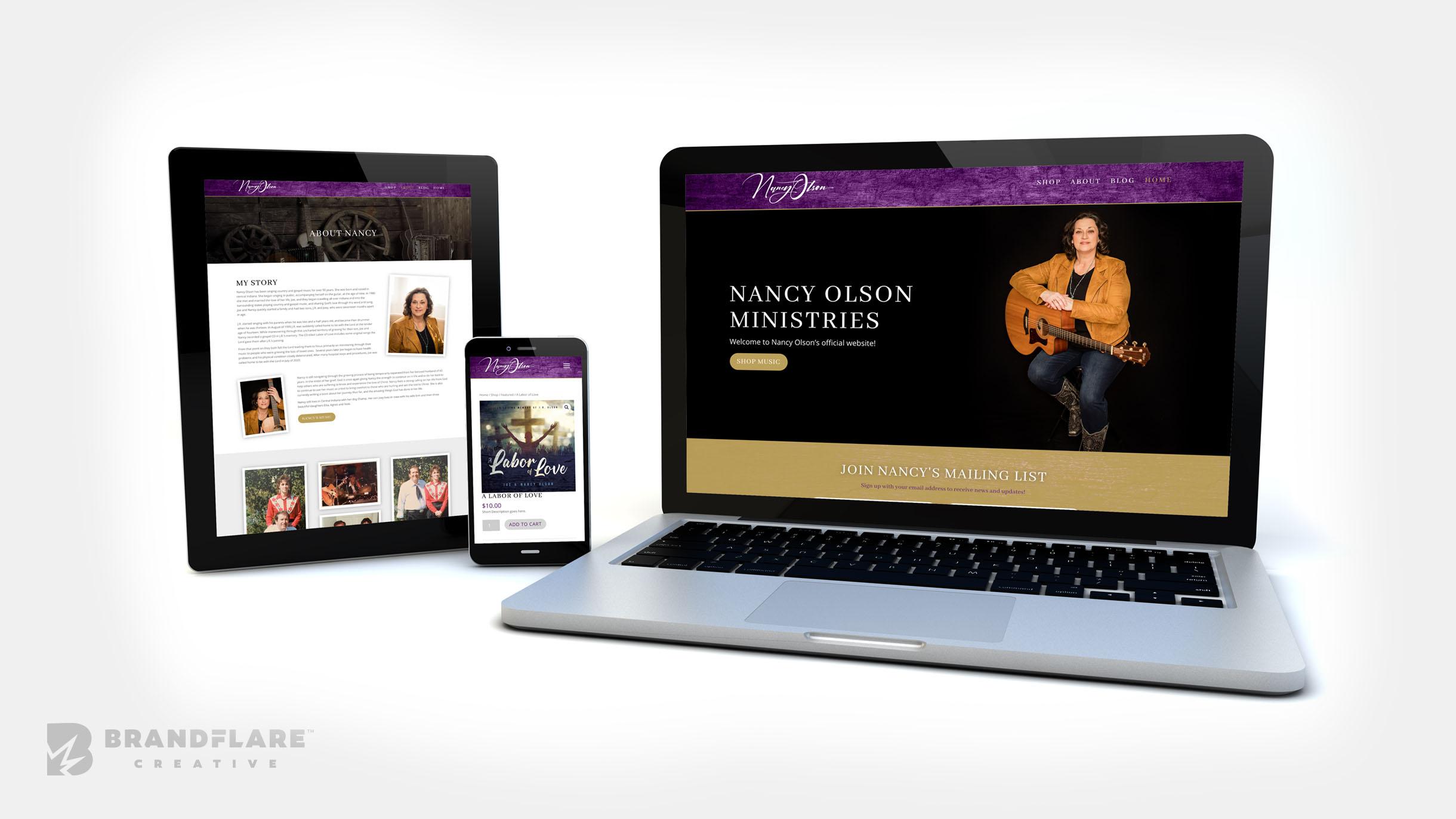 Nancy Olson Music Ministries Website Design - BrandFlare Creative